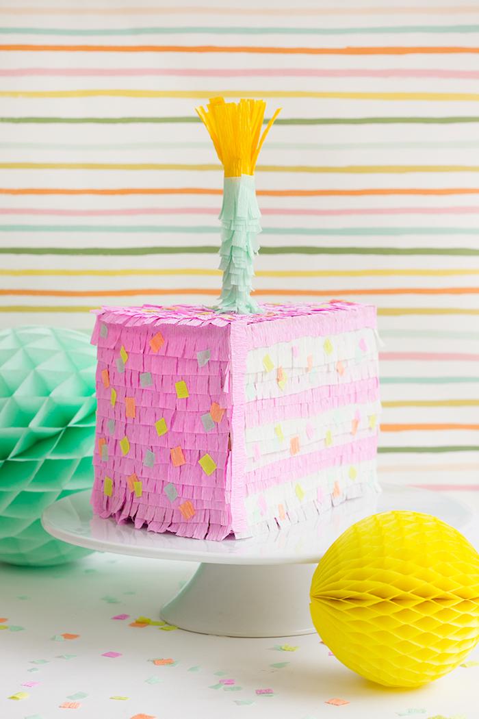 Tortenstück Pinata zum Geburtstag selber machen, lustige Party Spiele für Kinder