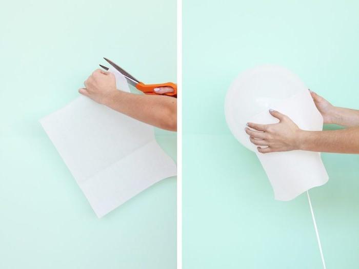 Weißen Ballon mit Stücken Papier bekleben, Gespenst selbst gestalten, tolle DIY Idee für Kindergeburtstag
