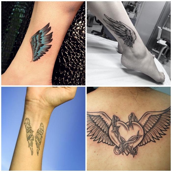 kleine engel tattoos, fußgelenk tätowieren lassen, herz mit flügeln und draht