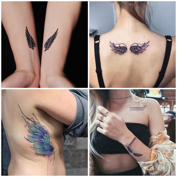 kleine engel tattoos für frauen, wasserfarben tätoiwerung an der körperseite