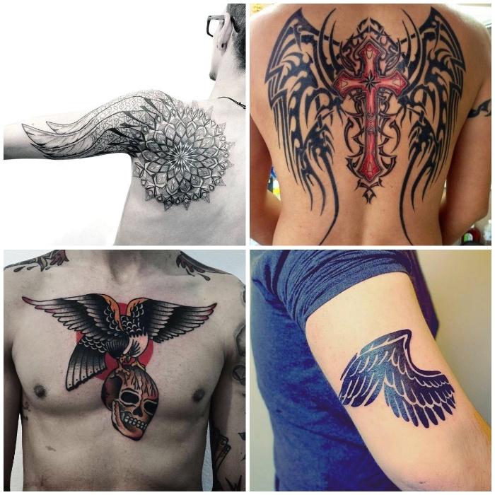 kleines schwarzes engel tattoo arm, roter kreuz mit obstrakten flpgeln, schädel