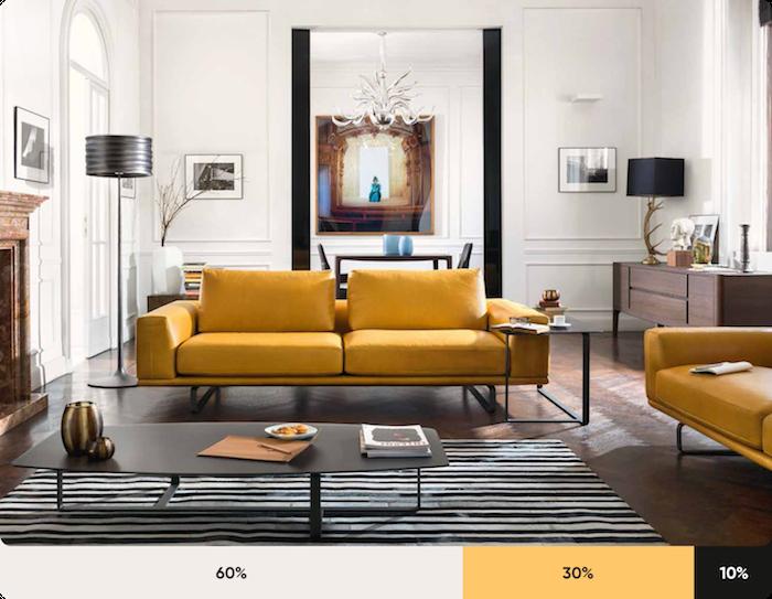 komplementärfarbe braun, gelbes ledersofa, gestreifter teppich, wohnzimmer einrichten