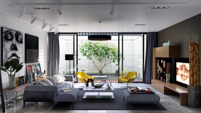komplementärfarbe braun, abstraktes bild, keramikfliesen mit marmor muster, gelbe sessel, wohnzimmereinrichtung