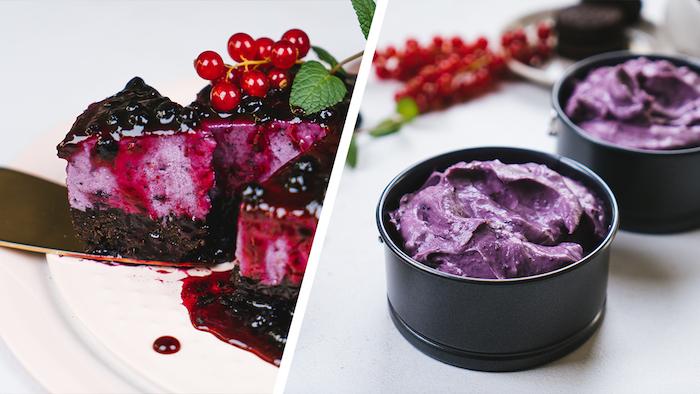 Saftiger Cheesecake mit Oreo Keksen und Blaubeerkonfitüre, Kuchen ohne Backen Rezept