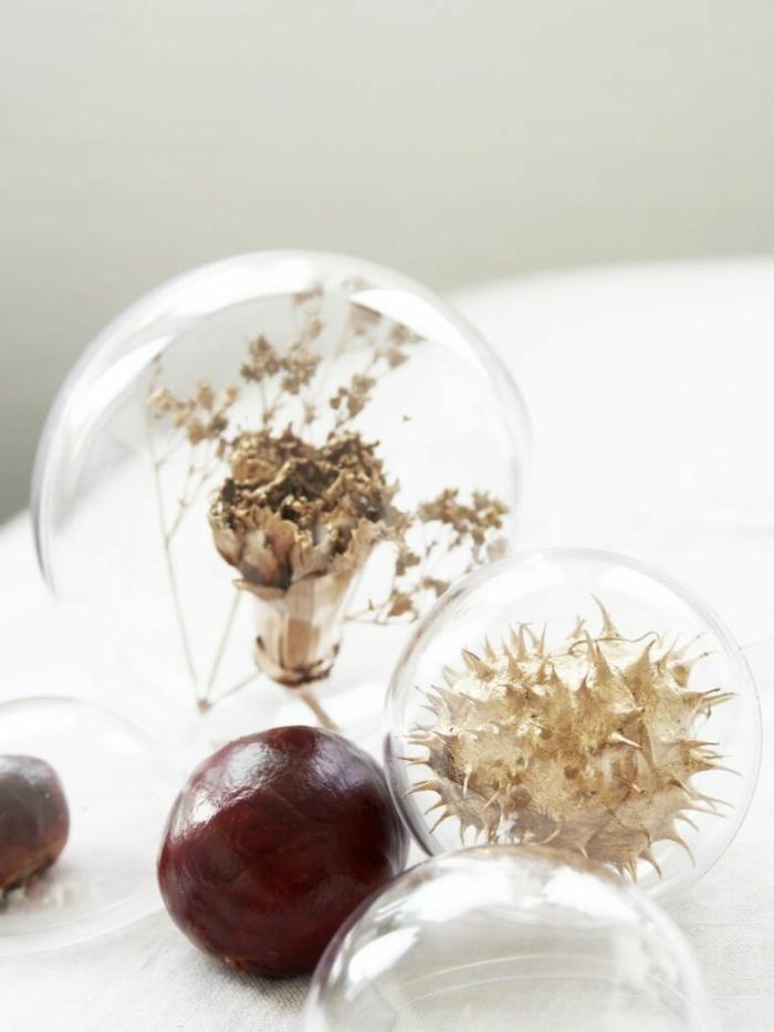 goldene Dekorationen in kleinen Kugeln, nicht gefärbte Kastanien, Basteln mit Kastanien