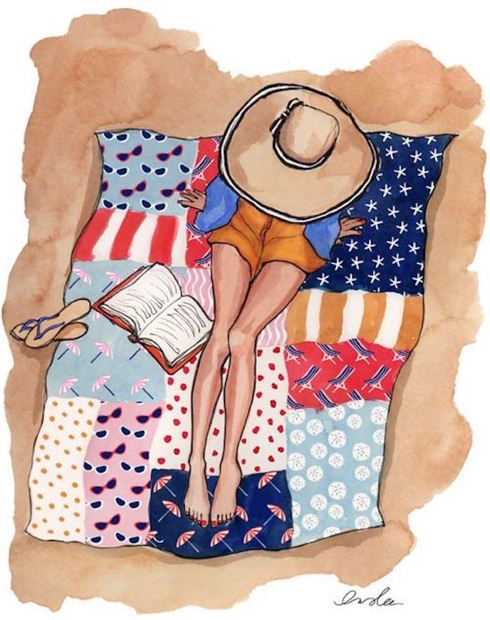 Frau mit Sommer Outfit liest Buch am Strand, Flip-Flops und Sommerhut, Bild zum Nachmalen