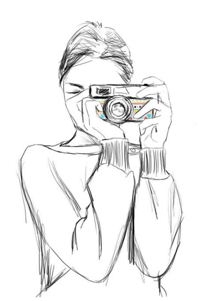 Schöne Illustration zum Nachzeichnen, Frau mit Fotoapparat, Bluse mit langen Ärmeln