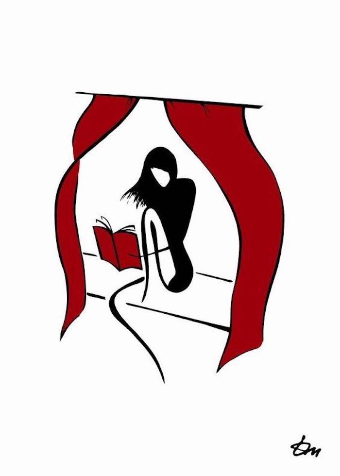 Schönes Bild zum Nachmalen, Frau mit langen schwarzen Haare liest Buch, rote Vorhänge