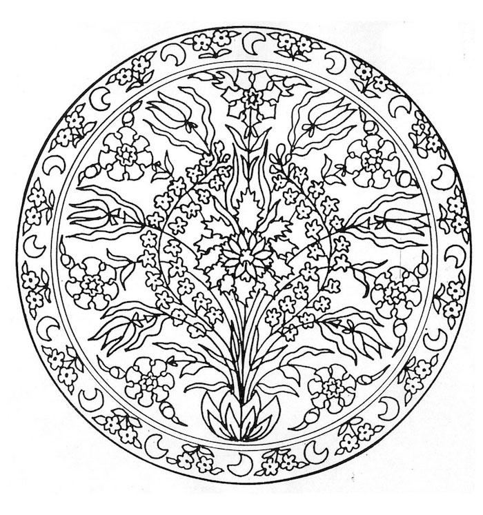 ein strauß mit vielen kleinen weißen und schwarzen blumen mit weißen blättern, ein mandala ausmalbild mit einem weißen halbmond
