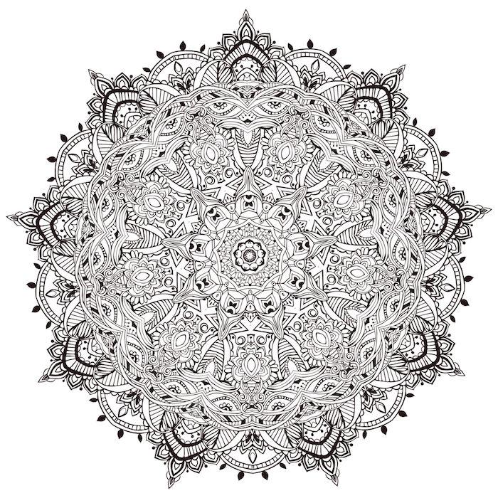 mandala zum ausdrucken für erwachsene, eine mandala figur mit vielen kleinen weißen und schwarzen mandala blumen, malvorlagen blumen madnala