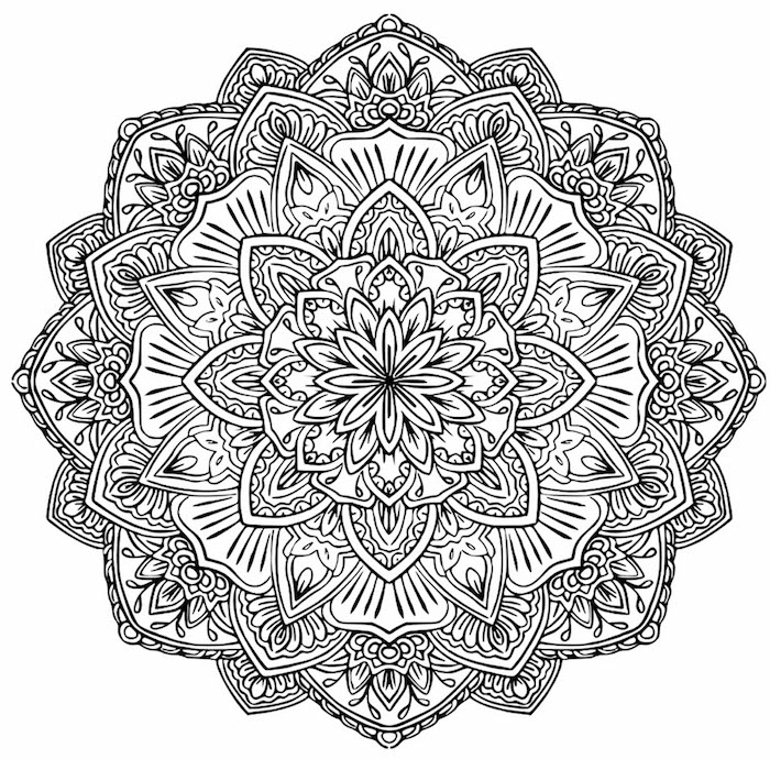 ein bild mit einer großen schwarzen mandala blume mit weißen und schwarzen blumen und blättern, malvorlagen blumen für erwachsene