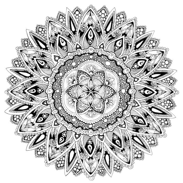 ein bild mit einer großen schwarzen mandala blume und mit vielen kleinen und großen schwarzen und weißen blättern, mandala zum ausdrucken für er