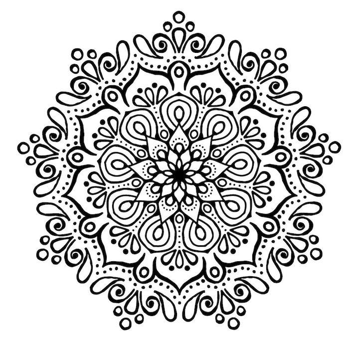 blumen vorlagen zum ausdrucken, eine große mandala figur mit einer weißen blume und mit vielen kleinen schwarzen und weißen blättern, blumen vorlagen zum ausdrucken