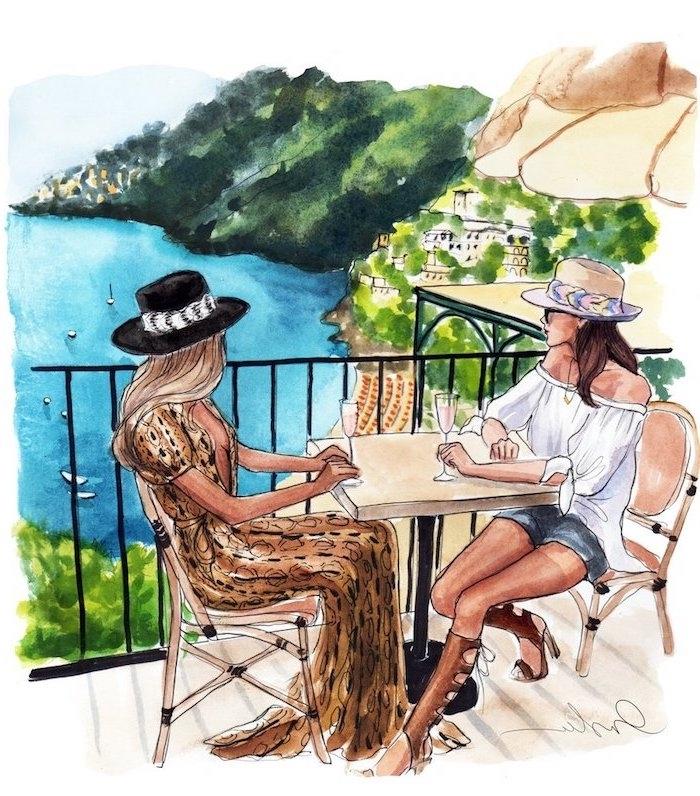 Schönes Bild zum Nachmalen, zwei Frauen mit Sommer Outfits trinken Wein, Meer im Hintergrund
