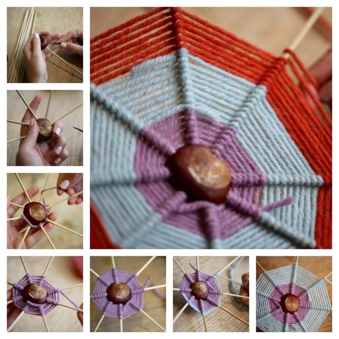 Schritt für Schritt Anleitung, wie Sie ein Spinnennetz mit Mitte aus Kastanien basteln, Bastelideen Herbst