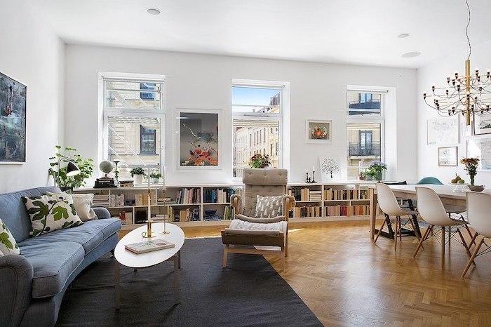 wohnzimmermöbel ideen zum einrichten und dekorieren für bücherlieber, bücherregal, buch