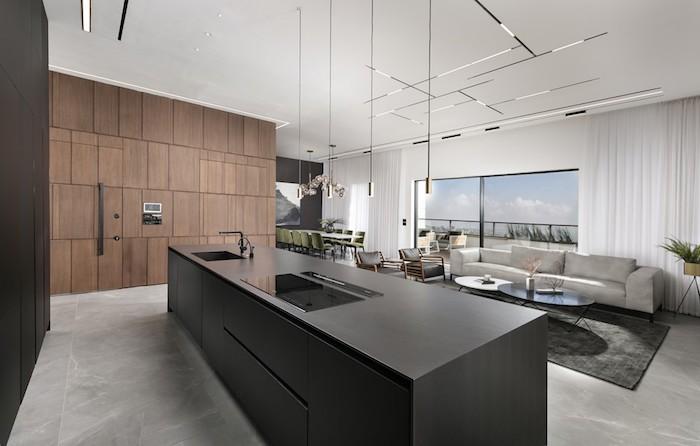 moderne wohnzimmer ideen zum gestalten, küche, esszimmer und wohnraum auf einmal, schwarze küche