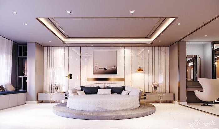 abgehöngte decke, moderne schlafzimmer, led belechtung, einrichtung in weiß und gold