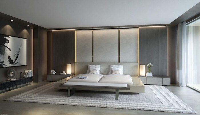 moderne schlafzimmer, wandpaneele mit beleuchtung, wandfarbe antharzit, schlafzimmereirncihtung