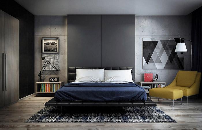 wandfarbe antharzit, moderne schlafzimmer, gestreifter teppich, bild mit goemetrischem motiv