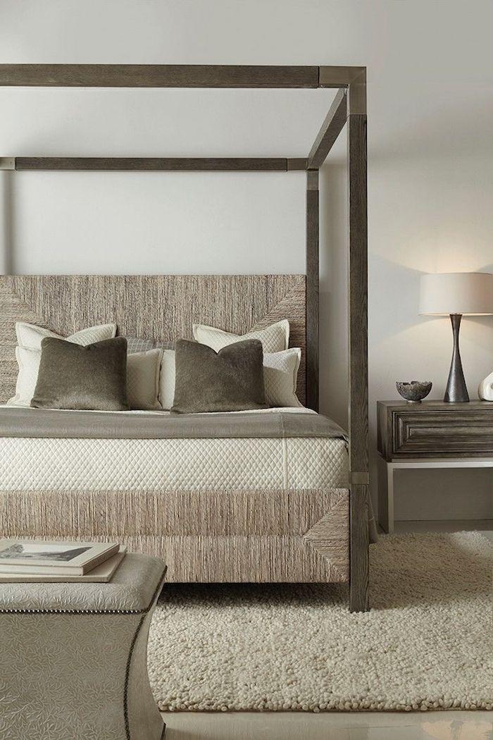 einrichtung in grau und beige, moderne schlafzimmer, hocker mit bücher