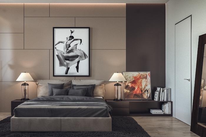 moderne schlafzimmer, großes bild in schwarz und grau, einrichtung in beige und braun