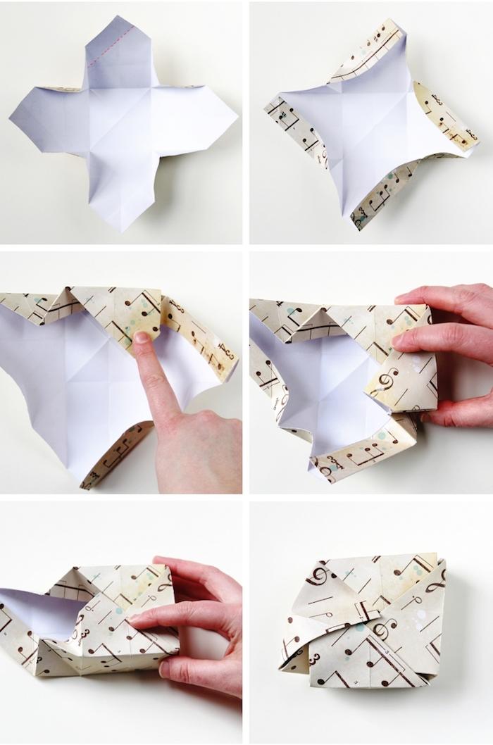 origami schachtel selber machen, glanzpapier mit noten, kleine geschenkbox falten