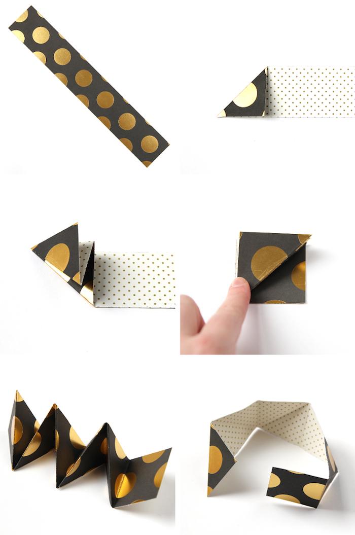 origami schachtel selber machen, streifen gepunktetes papier falten, bastelanleitung