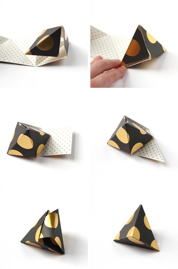 origami schachtel in der form von pyramide selber machen, basteln mit papier