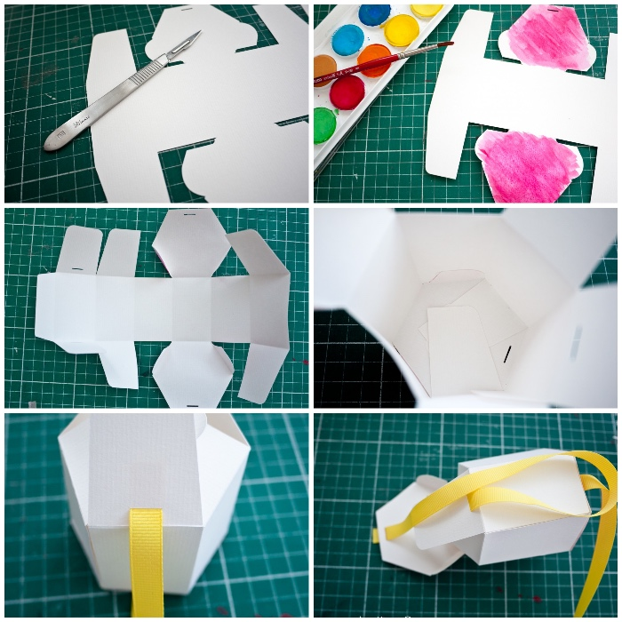 origami schachtel selber machen, anleitung in bildern, weißes papier, gelbe schleife