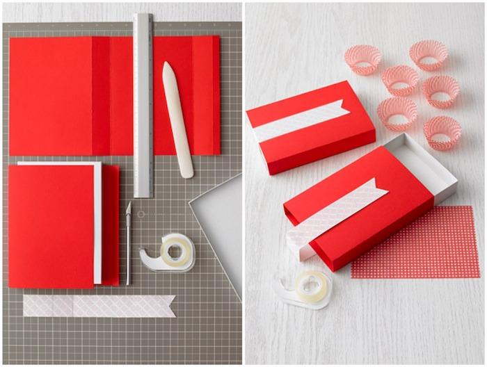 papierschachtel falten, rotes und weißes papier, kleine muffinförmchen, selbstgemacht