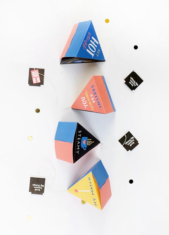 papierschachtel falten, dreieckige geschenkboxen, basteln mit papier, diy