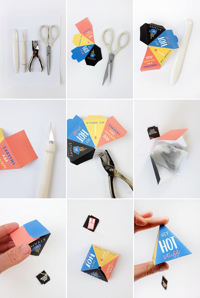 papierschachtel falten, diy anleitung, schablone aus papier ausschneiden, teebeutel