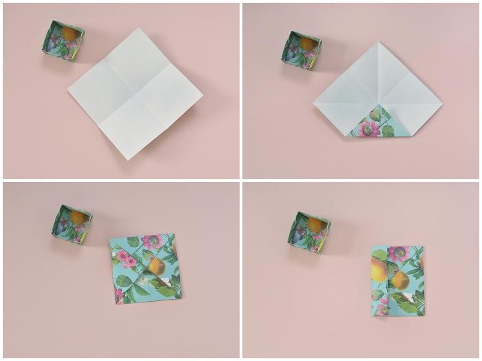 papierschachtel falten, origami box selber machen, blaues papier mit floralem motiv