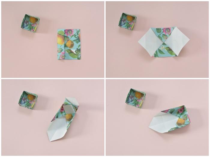 papierschachtel falten, anleitung in bildern, blaues papier mit foralem motiv