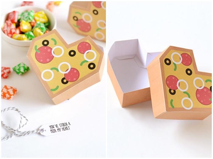 papierschachtel falten, box in form von pizza stück, schüssel mit bonbons, diy anleitung