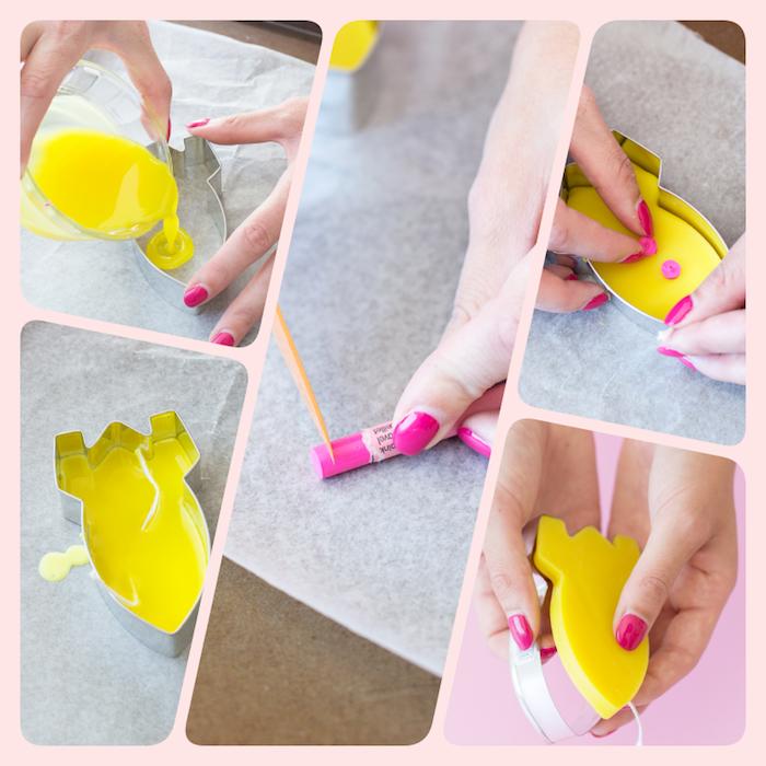 Kerze in Form von Rakete selber machen, DIY Idee für Kindergeburtstag, Anleitung in fünf Schritten