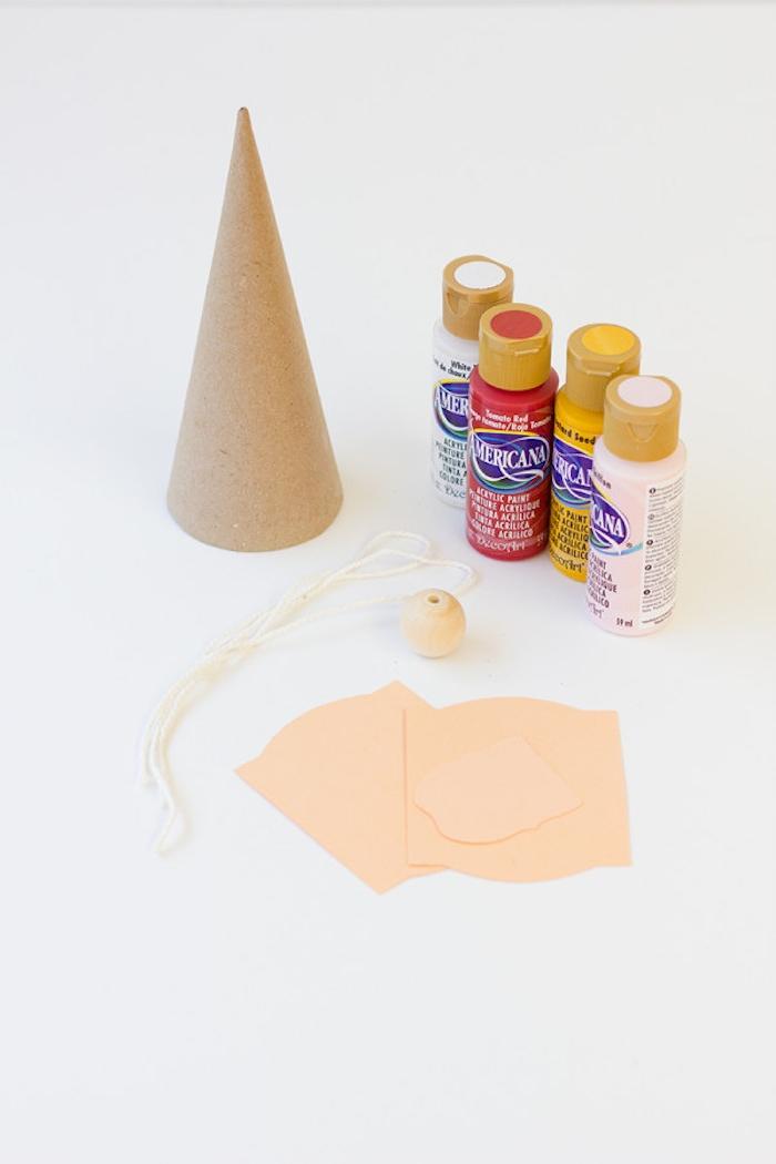 Partyhütchen selber machen, Materialien dazu, Kegel aus Papier, Acrylfarben Schnur und Holzkugel