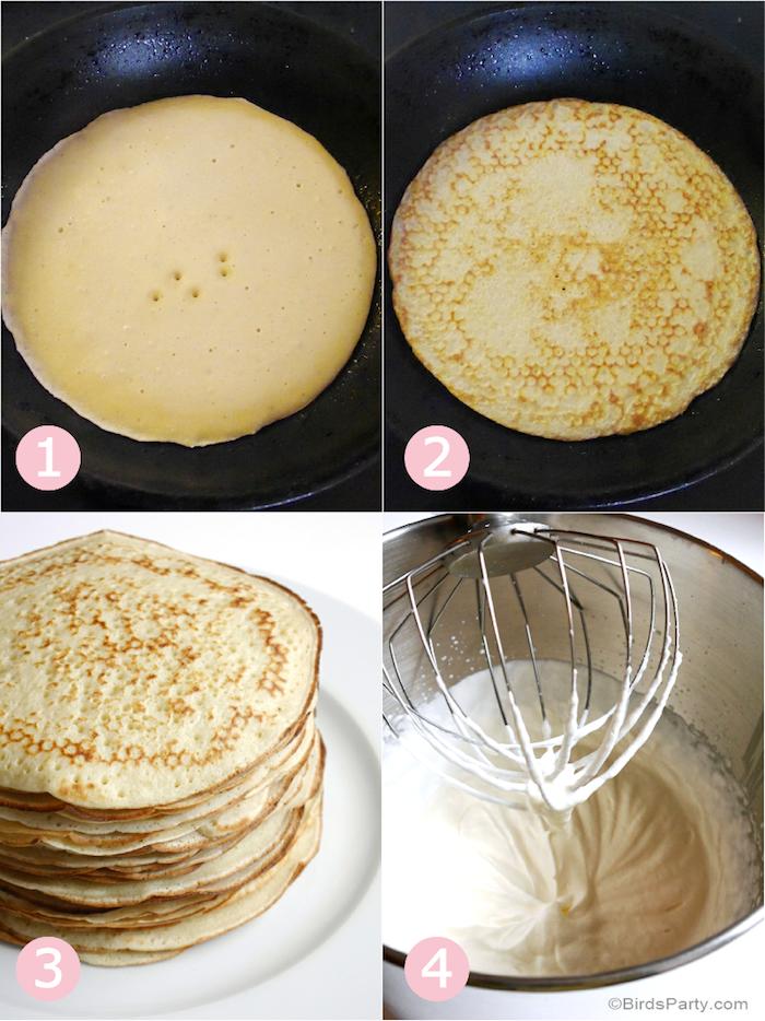 Pfannkuchen Torte selber machen, Pfannkuchen braten, Anleitung in vier Schritten