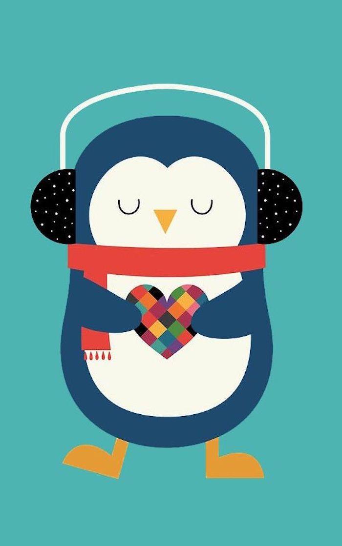 Tiere selber malen, Pinguin mit rotem Schal und Hörern hält buntes Herz, süßes Bild zum Nachzeichnen