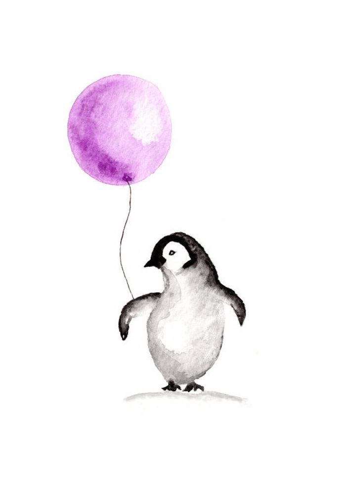 Tiere selber malen, Pinguin hält lilafarbenen Ballon, schöne Zeichnung zum Nachmalen
