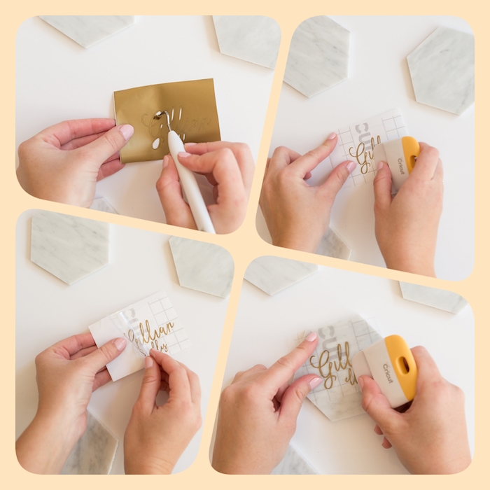 Bastelidee zum Nachmachen, Sticker auf Tischkarte aus Marmor kleben, DIY Anleitung in vier Schritten