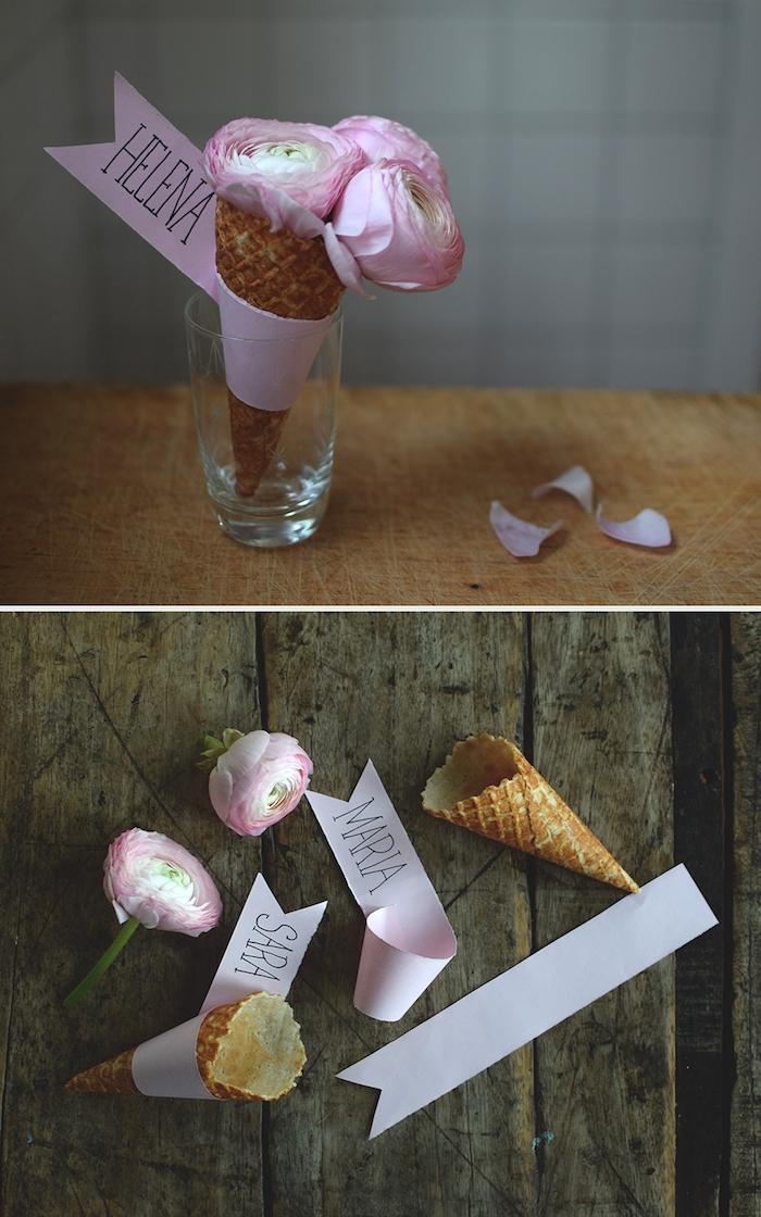 Kreative DIY Idee für Platzkarte, Blumen in Waffel, Streifen Papier mit dem Namen des Gastes