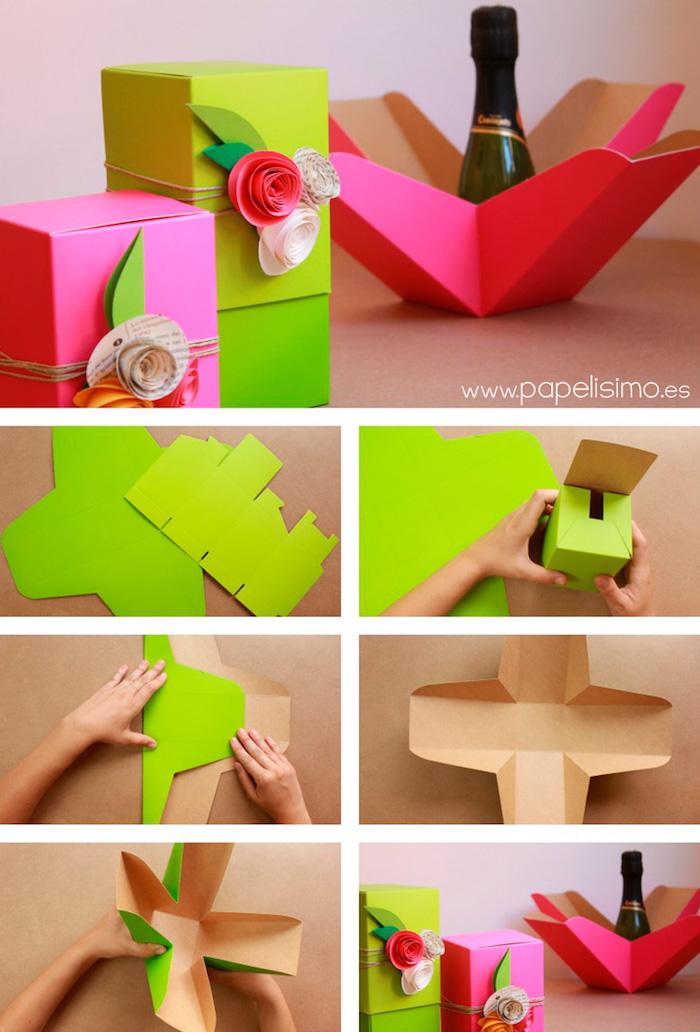 rechteckige schachtel falten, neuongrüne und neonrosa papier, kleine rosen