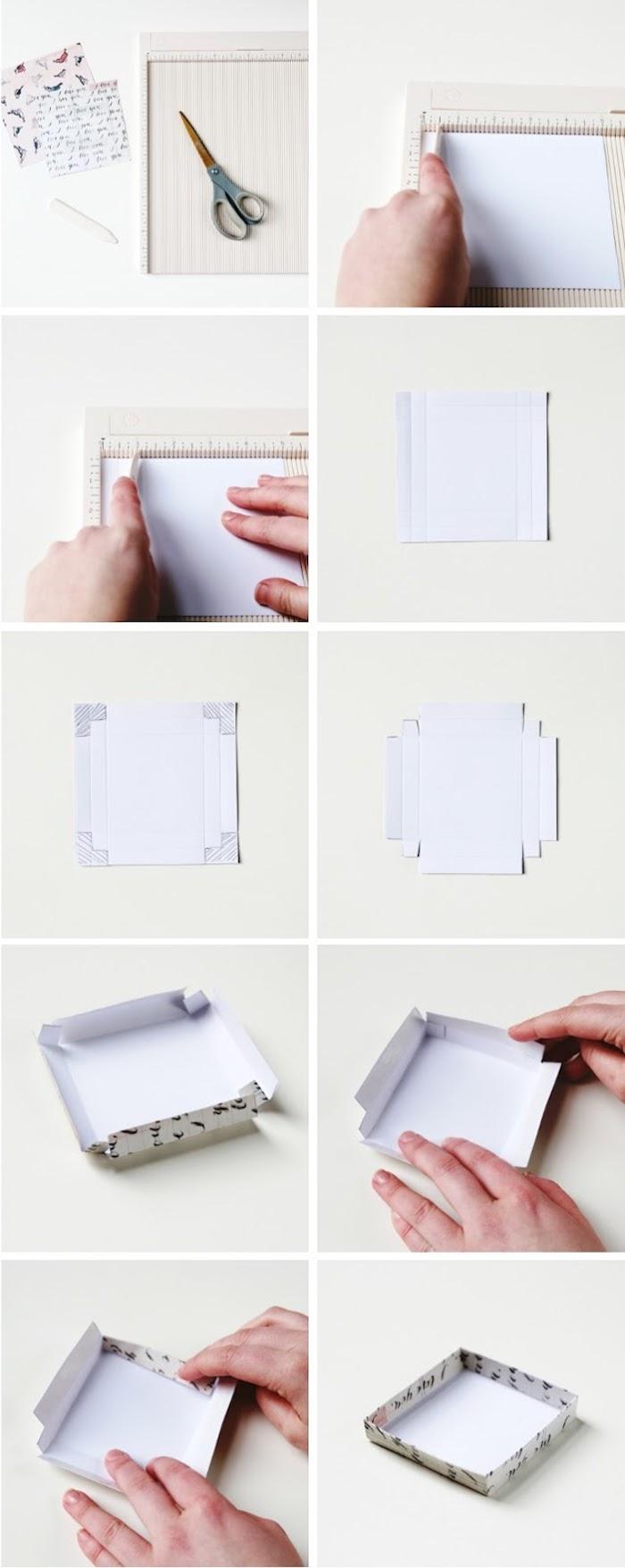 rechteckige schachtel falten, geschenkbox mit deckel selber machen, tutorial