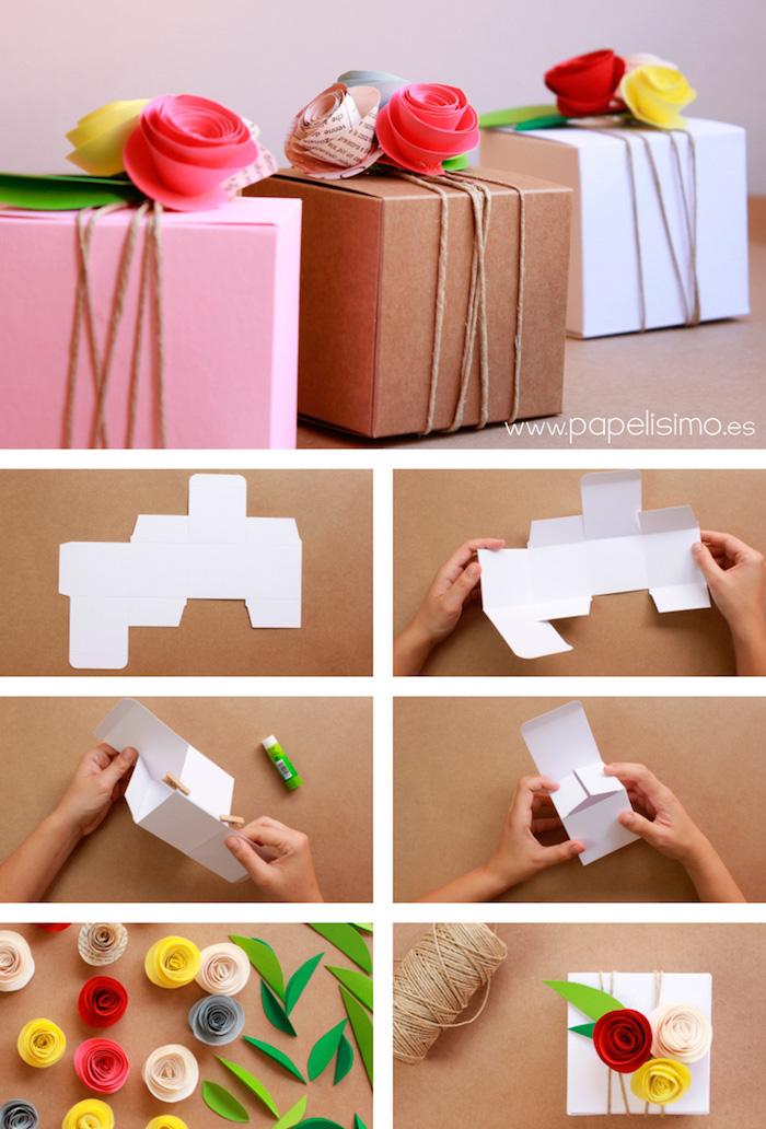 rechteckige schachtel falten, weißer karton, blumen aus papier, papierosen