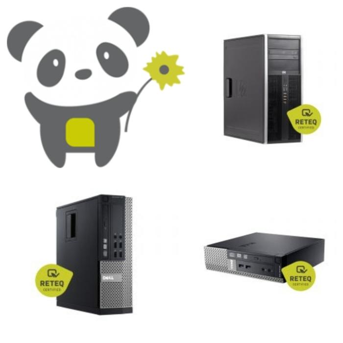 grünes Panda und drei Modelle von Computer