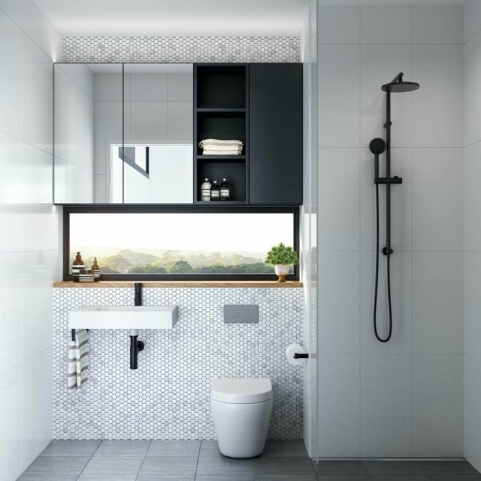graue Fliesen am Boden, weiße Mosaikfliesen an der Wand, Spiegelschränke, Badideen, kleines Waschbecken
