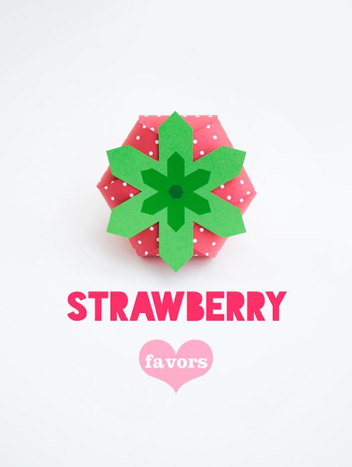 schachtel basteln, diy naleitung, geschenkbox in der form von erdbeere selber machen