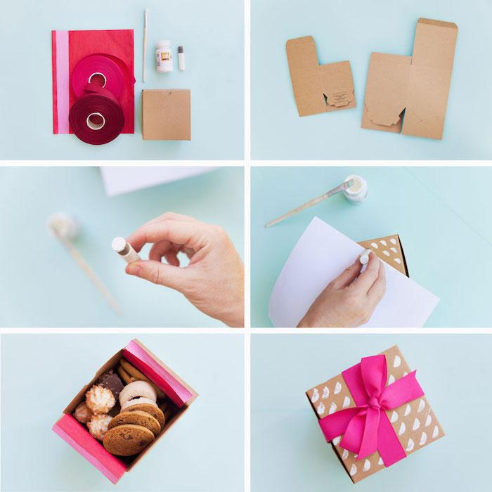 schachtel basteln anleitung, rosa seidenpapier, schleife binden, box aus papier mit weißer farbe dkeorieren